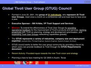 Global Tivoli User Group (GTUG) Council