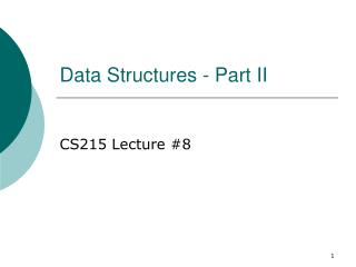 Data Structures - Part II