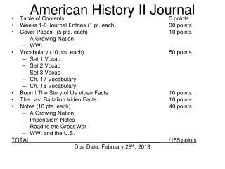 American History II Journal
