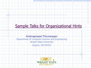 Sample Talks for Organizational Hints