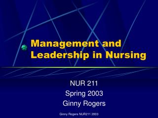 Management and Leadership in Nursing