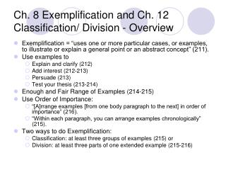 Ch. 8 Exemplification and Ch. 12 Classification/ Division - Overview