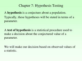 Chapter 7: Hypothesis Testing
