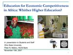 Education for Economic Competitiveness in Africa: Whither Higher Education