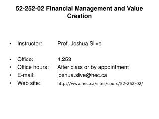 52-252-02 Financial Management and Value Creation