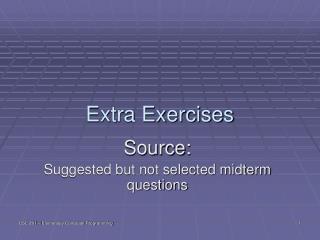 Extra Exercises