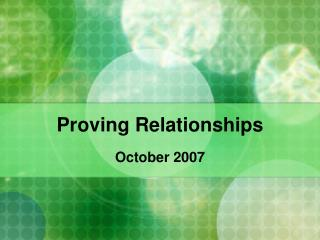Proving Relationships