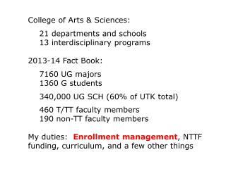 College of Arts & Sciences: 	21 departments and schools 	13 interdisciplinary programs