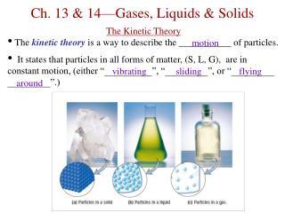Ch. 13 & 14—Gases, Liquids & Solids