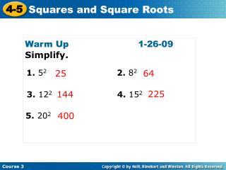 Warm Up1-26-09 Simplify.