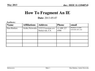 How To Fragment An IE