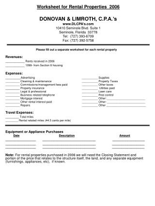 Please fill out a separate worksheet for each rental property Revenues: