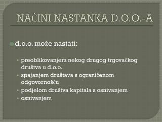 NAČINI NASTANKA D.O.O.-A