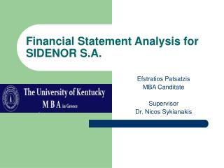 Financial Statement Analysis for SIDENOR S.A.