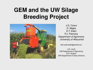 GEM and the UW Silage Breeding Project