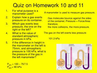 Quiz on Homework 10 and 11