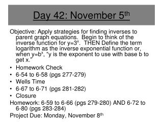 Day 42: November 5 th