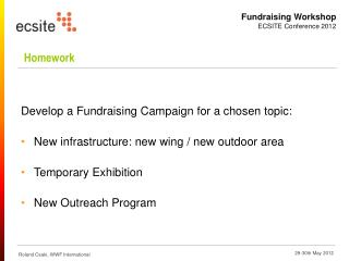 Develop a Fundraising Campaign for a chosen topic: New infrastructure: new wing / new outdoor area
