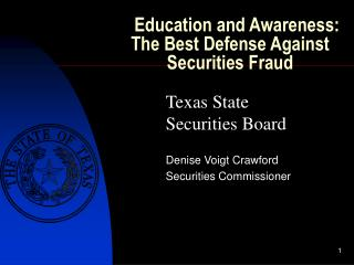 Education and Awareness:  The Best Defense Against Securities Fraud