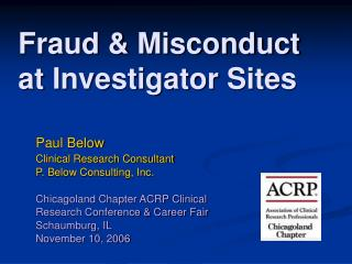 Fraud & Misconduct at Investigator Sites