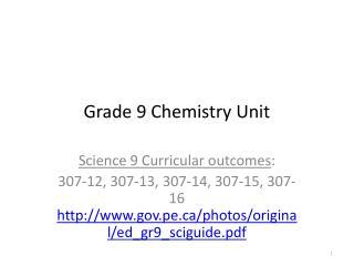 Grade 9 Chemistry Unit