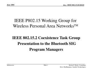 IEEE P802.15 Working Group for Wireless Personal Area Networks TM