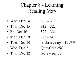 Chapter 8 - Learning Reading Map