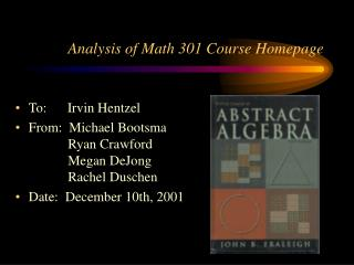 Analysis of Math 301 Course Homepage