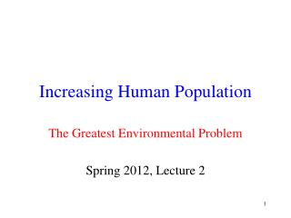 Increasing Human Population