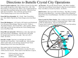 Directions to Battelle Crystal City Operations