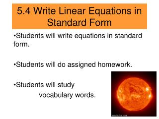 5.4 Write Linear Equations in Standard Form
