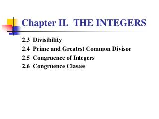 Chapter II.  THE INTEGERS