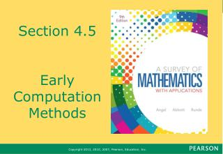 Section 4.5 Early Computation Methods