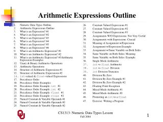 Arithmetic Expressions Outline