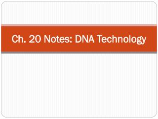Ch. 20 Notes: DNA Technology