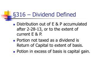 §316 – Dividend Defined