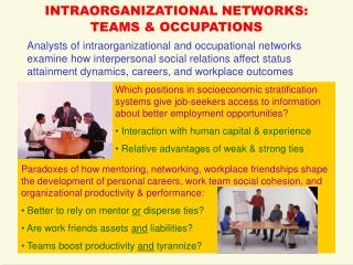 INTRAORGANIZATIONAL NETWORKS: TEAMS & OCCUPATIONS