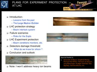 PLANS  FOR  EXPERIMENT  PROTECTION AT LHC