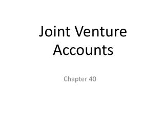 Joint Venture Accounts