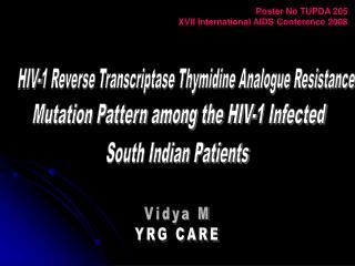 HIV-1 Reverse Transcriptase Thymidine Analogue Resistance