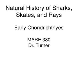 Natural History of Sharks, Skates, and Rays Early Chondrichthyes MARE 380 Dr. Turner