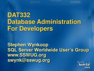DAT332 Database Administration For Developers