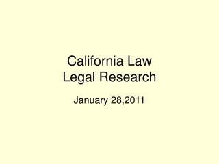 California Law Legal Research