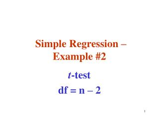 Simple Regression – Example #2