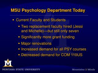 MSU Psychology Department Today