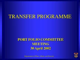 TRANSFER PROGRAMME