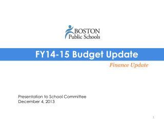 FY14-15 Budget Update