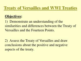 Treaty of Versailles and WWI Treaties