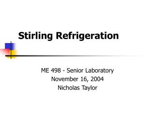 Stirling Refrigeration