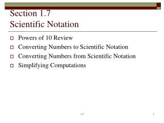 Section 1.7 Scientific Notation